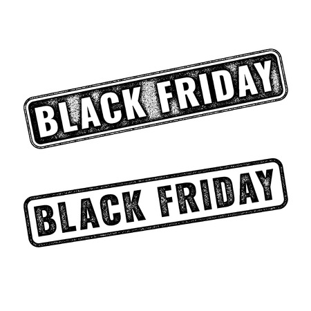 annotation: Two realistic vector Black Friday stamps isolated on white background. Set of black imprints announcement of annual fair Illustration