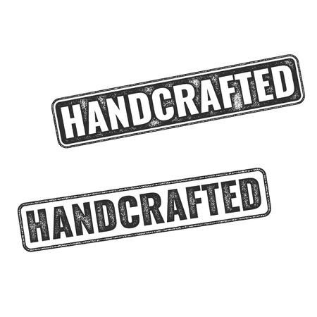 Dos vectores A mano sellos de caucho realistas aislados sobre fondo blanco
