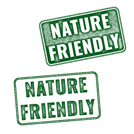 eco logo: Two realistic vector Nature friendly grunge rubber stamps isolated on white background