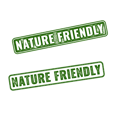 Two green realistic vector Nature friendly grunge rubber stamps isolated on white background