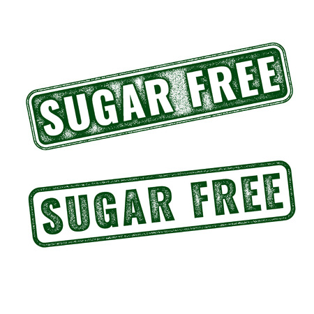 white sugar: Set of green realistic vector Sugar free grunge rubber stamp isolated on white background.