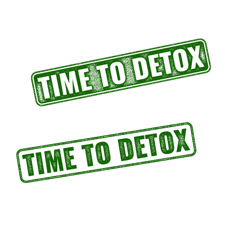 detox: Two variants of green Time to Detox rubber stamp isolated on white background Illustration