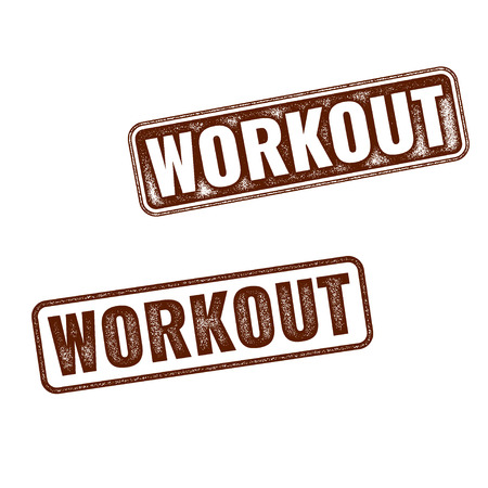 Two realistic vector Workout grunge rubber stamps isolated on white background Фото со стока - 55720090
