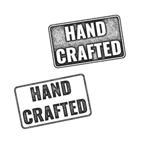 annotation: Two realistic vector Handcrafted grunge rubber stamps isolated on white background