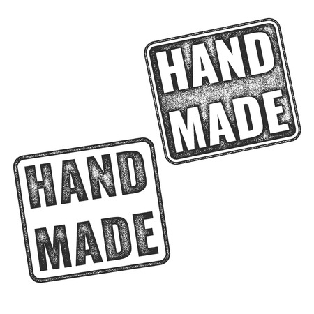 annotation: Two realistic vector Handmade grunge rubber stamps isolated on white background