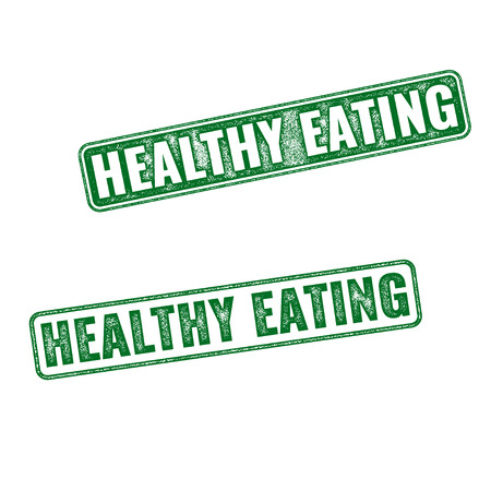 Two green realistic vector grunge rubber stamps Healthy Eating isolated on white background Фото со стока - 55802521