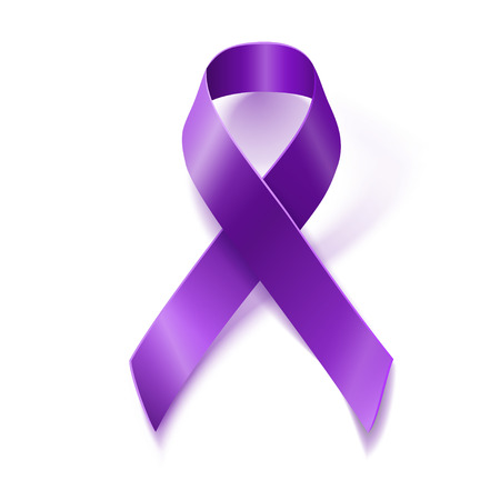 pancreatic: Purple awareness realistic ribbon isolated on white background with drop shadow