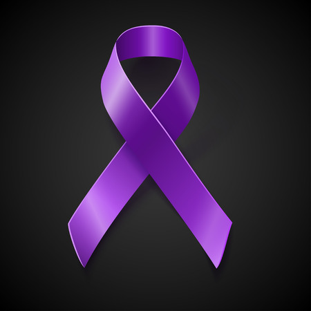 fibromyalgia: Purple awareness realistic ribbon over black background with drop shadow