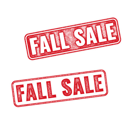 annotation: Two textured stamps Fall sale. Vector realistic Fall sale imprints isolated on white background
