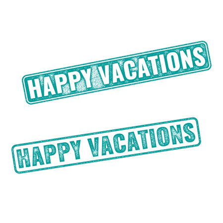 turqoise: Grunge textured stamp with words Happy Vacation written inside. Realistic vector Happy vacation stamp