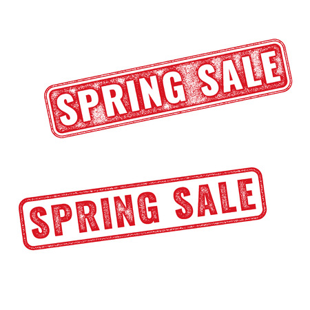 annotation: Two textured stamps Spring sale. Vector realistic Spring sale imprints isolated on white background