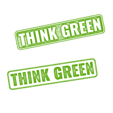motto: Realistic green vector grunge rubber stamp Think Green isolated on white background. Eco concept. Earth day motto slogan. Eco label tag
