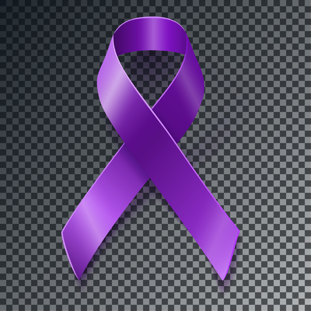 fibromyalgia: Purple awareness realistic ribbon over geometric background with drop shadow