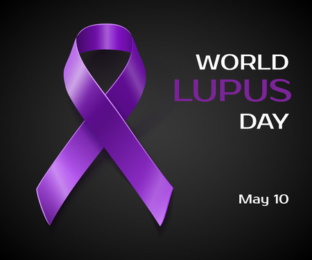 pancreatic cancer: Purple Lupus awareness ribbon over a black background. World lupus day background Illustration