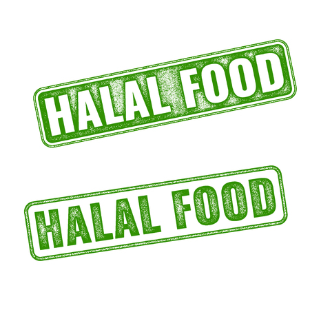 annotation: Set of green realistic vector Halal Food grunge rubber stamp isolated on white background. Halal food vector stamp