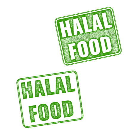 Set of green realistic vector Halal Food grunge rubber stamp isolated on white background. Halal food vector stamp