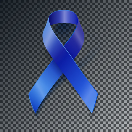 colon cancer: Awareness realistic blue vector ribbon with transparent shadow Illustration