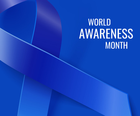 months: Awareness realistic blue vector ribbon background. World cancer awareness month