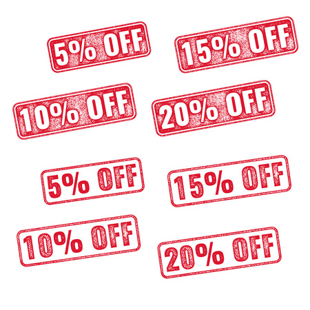 5 to 10: Realistic red vector stamp with discount 5 10 15 20 off