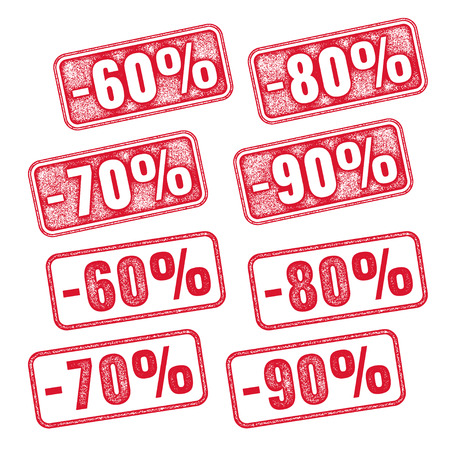 annotation: Realistic red vector stamp with discount 60 70 80 90 Illustration