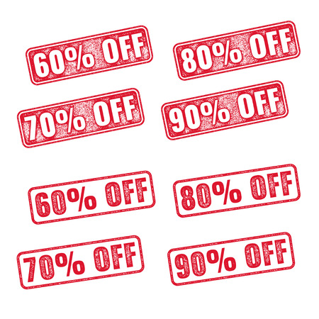 80 90: Realistic red vector stamp with discount 60 70 80 90 off Illustration