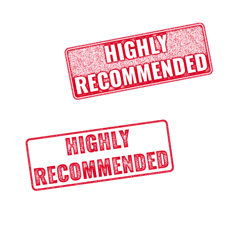 recommended: Highly Recommended vector grunge textured red rubber stamp isolated on white background. Illustration