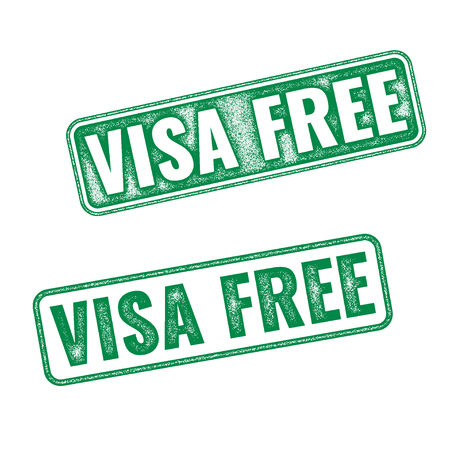 fro: Visa free green textured vector rubber stamp fro travelling background