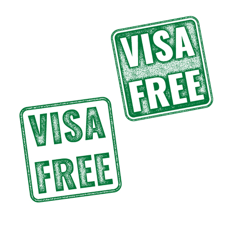 to and fro: Visa free green textured vector rubber stamp fro travelling background