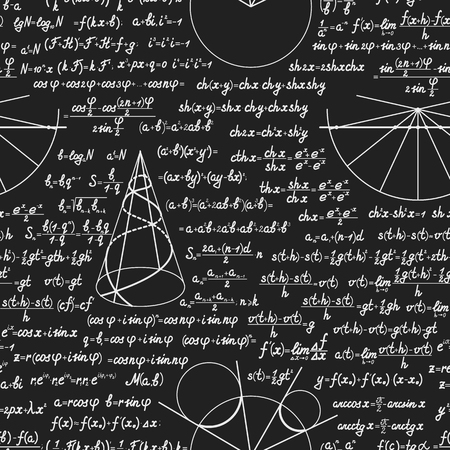 teorema: Mathematic vector seamless pattern with different signs, figures and formulas. Back to school seamless scientific background Vectores