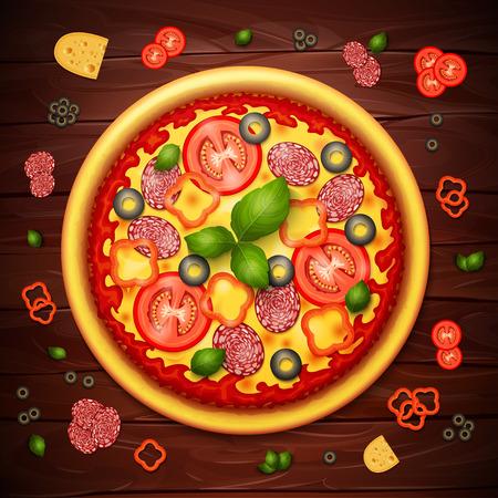 Réaliste recette vecteur de pizza ou le bois de fond du menu. Pizza à la tomate et le pepperoni sur la table en bois Banque d'images - 58201932