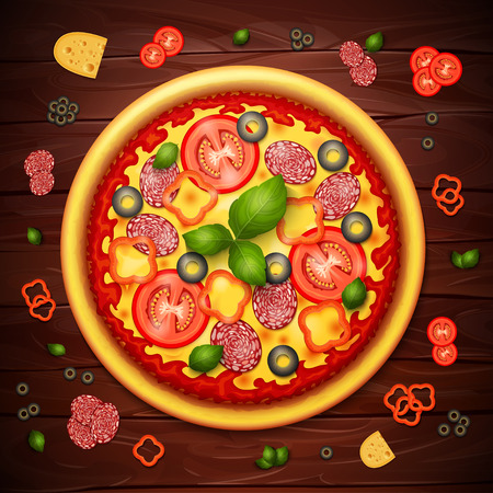 pepperoni: Realistic vector Pizza recipe or menu wood background. Pizza with tomatoes and pepperoni on wooden table Illustration