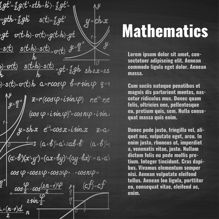 teorema: Abstract math handwritten background with copy space right. School blackboard