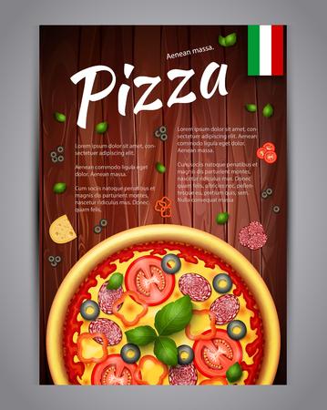 現実的なピザ ピザ屋のチラシのベクトルの背景。食材や木製の背景上のテキストと垂直のイタリアンピザ ポスター