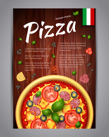 Realistic Pizza Pizzeria flyer vector background. Vertical Italian Pizza poster with ingredients and text on wooden background Illustration