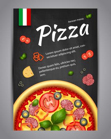 Réaliste Pizza Pizzeria vecteur flyer fond. Affiche verticale italienne Pizza avec des ingrédients et le texte sur tableau noir