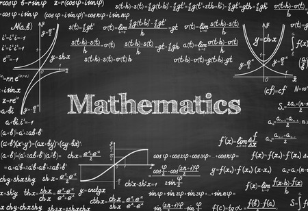 mathematical proof: Mathematical vector seamless pattern with formulas, equations and figures, handwritten on a blackboard seamless design Illustration