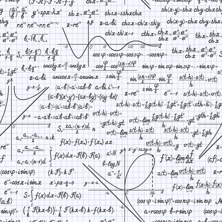 mathematical proof: Mathematical vector seamless pattern background with formulas, equations and figures, handwritten in a notebook Illustration
