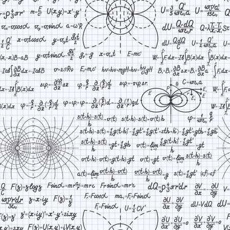 Physical vector seamless pattern background with formulas, equations and figures, handwritten in a notebook