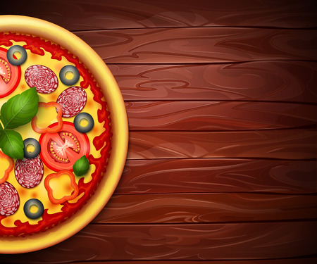 Realistic vector Pizza recipe or menu wood background. Pizza with tomatoes and pepperoni on wooden table Illustration