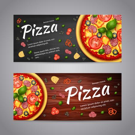 flyer layout: Realistic Pizza Pizzeria flyer vector background. Two horizontal Pizza banners with ingredients and text on wooden background and blackboard