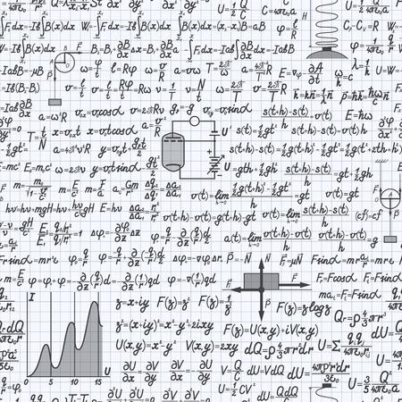 teorema: vector f�sica fondo sin patr�n, con f�rmulas, ecuaciones y figuras, escritos a mano en un cuaderno