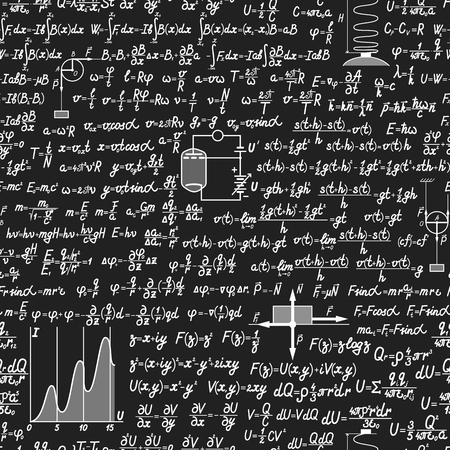 theorem: Physical vector seamless pattern with formulas, equations and figures, handwritten on a blackboard seamless design Illustration