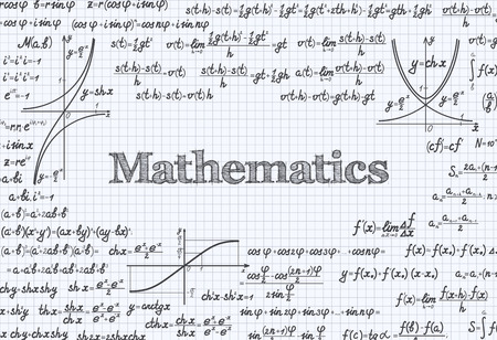 proofs: Mathematical vector pattern background with formulas, equations and figures, handwritten in a notebook Illustration