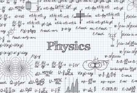 teorema: vector f�sica patr�n de fondo con f�rmulas, ecuaciones y figuras, escritos a mano en un cuaderno Vectores