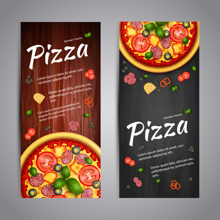 pizza ingredients: Realistic Pizza Pizzeria flyer vector background. Two vertical Pizza banners with ingredients and text on wooden background and blackboard