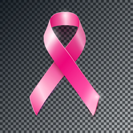 cancer illustration: Realistic vector pink ribbon, breast cancer awareness symbol, isolated on transparent background. Illustration