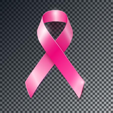 Realistische vector roze lint, de voorlichting van borstkanker symbool, geïsoleerd op een transparante achtergrond. Stockfoto - 58201990