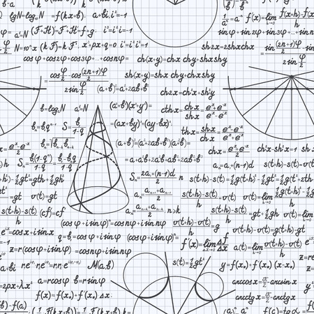 teorema: Mathematical vector seamless pattern background with formulas, equations and figures, handwritten in a notebook Vectores