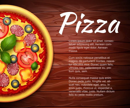 pepperoni: realistic Pizza recipe or menu vector background. Pizza with tomatoes and pepperoni on wooden table with copy space aside