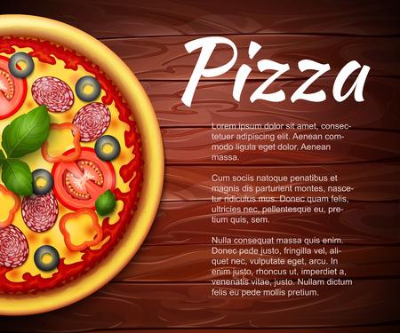 pizza: receta de la pizza realistas o fondo del menú del vector. Pizza con los tomates y los salchichones de mesa de madera con copia espacio a un lado